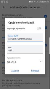 Ustawienia serwera poczty przychodzącej Gmail Aplikacja