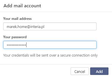 Wskaż adres e-mail konta pocztowego w Interia.pl oraz podaj jej hasło dostępu.