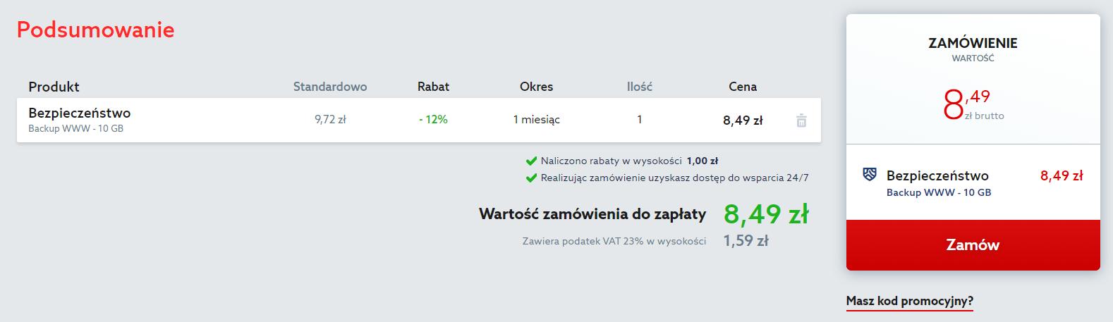 Sprawdź podsumowanie zamówienia na Backup WWW i kliknij przycisk: Zamów.