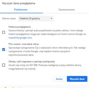 Czyszczenie pamięci cache Google Chrome - Ustawienia