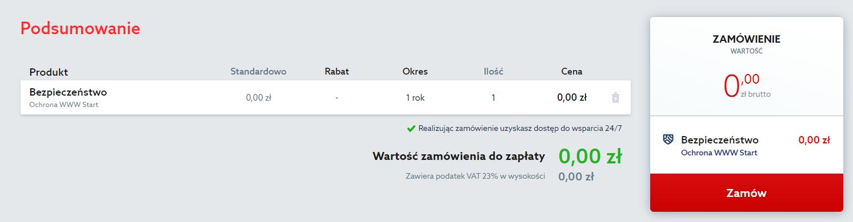 Aby uruchomić darmowy pakiet Ochrony WWW od home.pl, kliknij przycisk: Zamów.