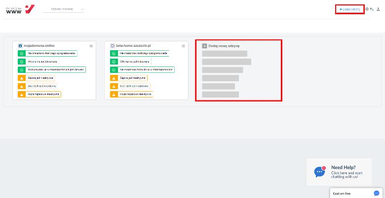Aby dodać nową witrynę do Ochrony WWW, kliknij opcję: Dodaj witrynę.
