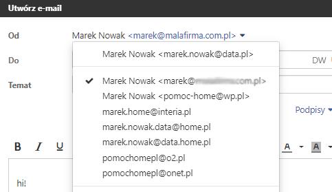 Wysyłanie wiadomości za pomocą adresu e-mail dodanego konta zewnętrznego nazwa.pl.