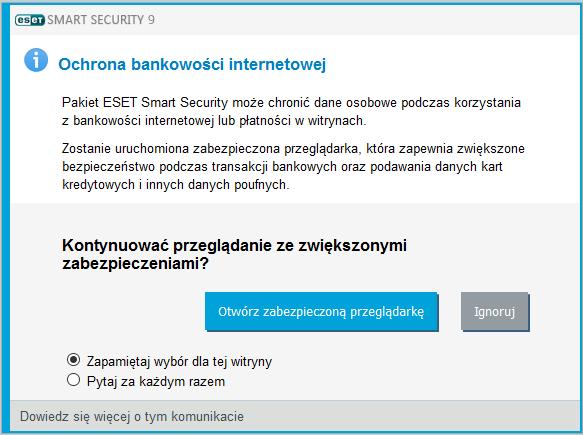 Pytanie w oknie przeglądarki czy uruchomić ochronę bankowości