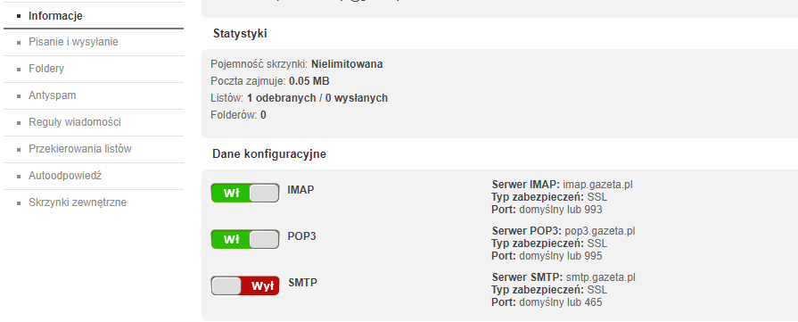 Ustawienia poczty wychodzącej - ustawienia POP3, IMAP i SMTP w Gazeta.pl.