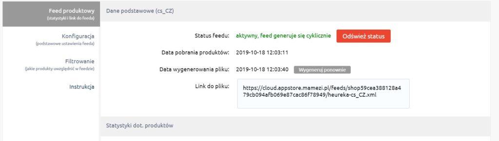 Ustawienia feedu produktowego w aplikacji Heureka. Data pobrania produktów oraz wygenerowania pliku.