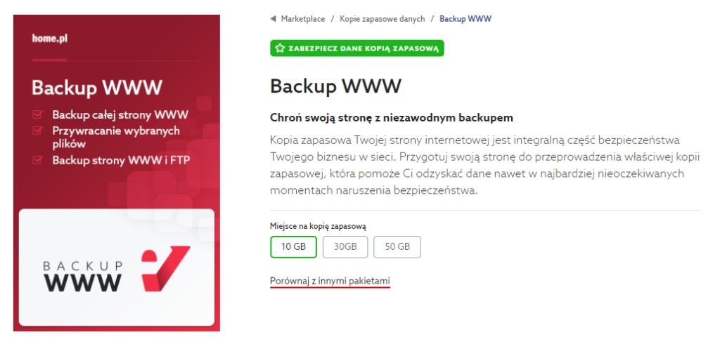 Jak zamówić Backup WWW? Kopia zapasowa danych w home.pl