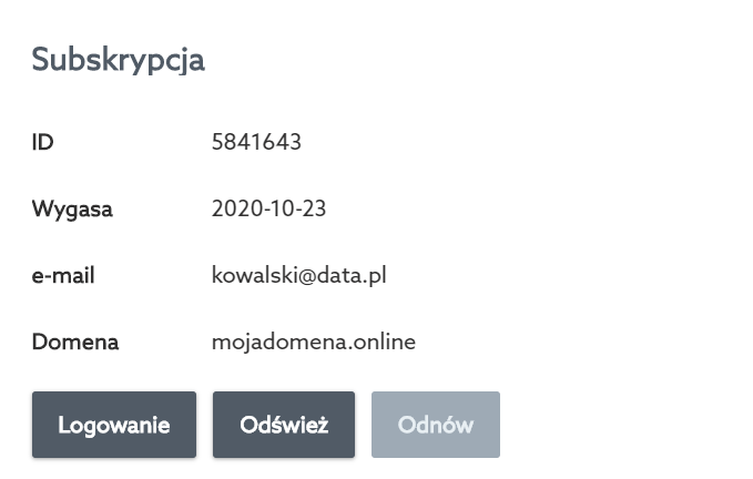 Kliknij przycisk: Logowanie, aby uruchomić w nowej zakładce Panel Ochrony WWW.