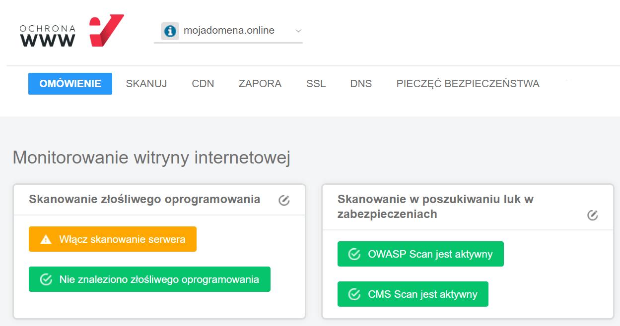 Przykład jak wygląda ekran startowy po zalogowaniu się do Panelu Ochrony WWW.