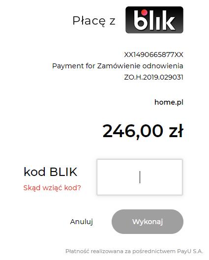 Płatność elektroniczna BLIK w home.pl