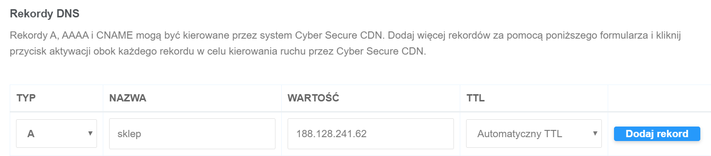 Po utworzeniu subdomeny, należy w Panelu Ochrony WWW dodać rekord A kierujący na serwer w home.pl.