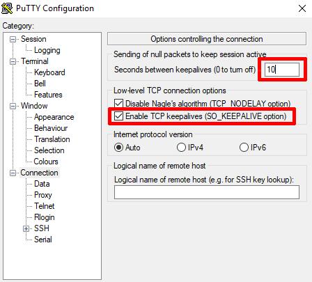 Ustawienia programu PuTTY: włącz opcję TCP keepalives i określ ilość sekund między pakietami.