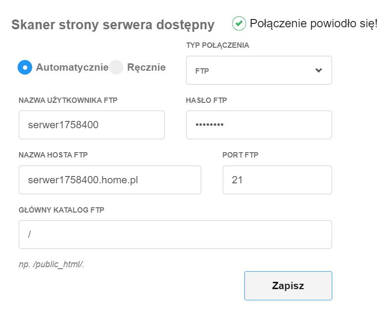 Kliknij przycisk: Testuj połączenie, aby sprawdzić czy wpisałeś poprawne dane dostępu do serwera FTP.