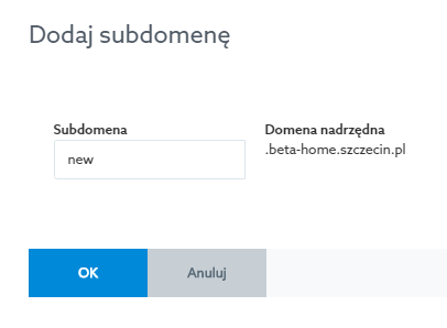 How to create a subdomain - Home.pl Control Panel