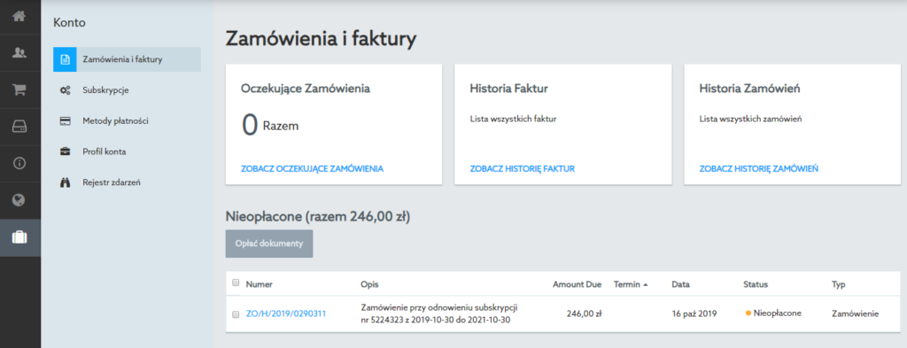 Panel klienta home.pl - lista faktur i zamówień