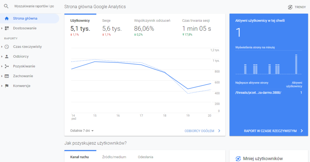 Widok panelu Google Analytics
