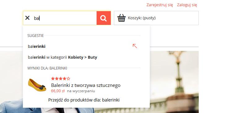 Konfiguracja wyszukiwarki i sugestera produktów/kategorii na stronie eSklepu