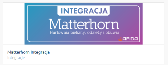 Po zainstalowaniu integracji Matterhorn, znajdziesz ją w zakładce: Aplikacje -> Moje aplikacje.