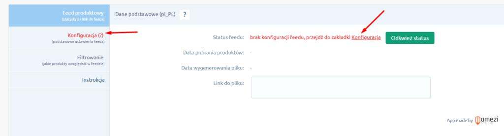 W interfejsie aplikacji 1but.pl przejdź do zakładki: Konfiguracja.