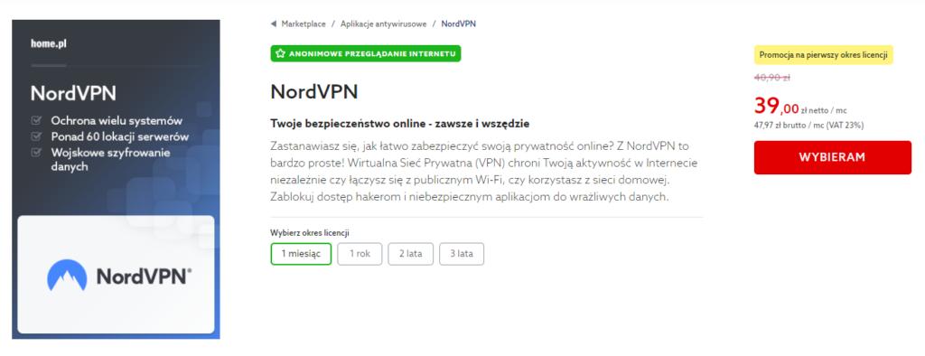 Rejestracja usługi NORD VPN w home.pl