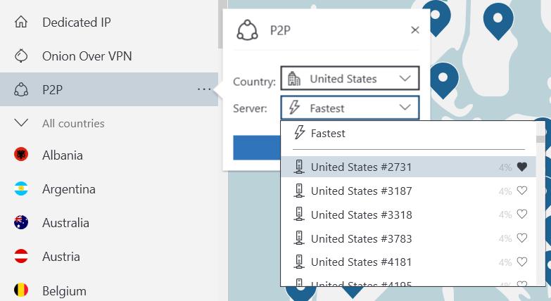 Wybierz serwer do połączenia VPN