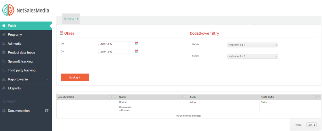 Dokumenty i płatności w Panelu Partnera (NetSalesMedia) - filtr dokumentów.