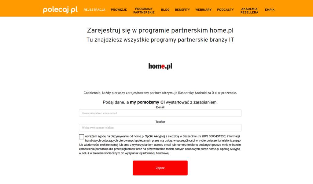 Jak zarejestrować się w Programie Partnerskim home.pl?