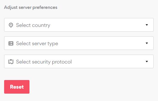 Wybierz Kraj, kategorię serwera i rodzaj protokołu bezpieczeństwa VPN
