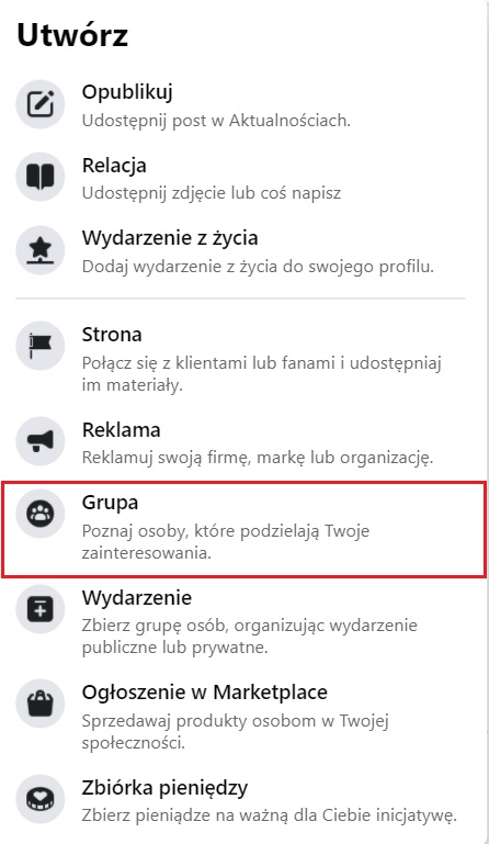 Grupa - jak utworzyć grupę na facebooku