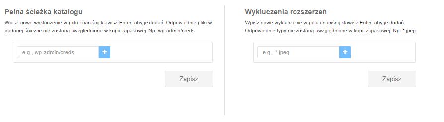 Wykluczenia w kopii zapasowej Backup WWW