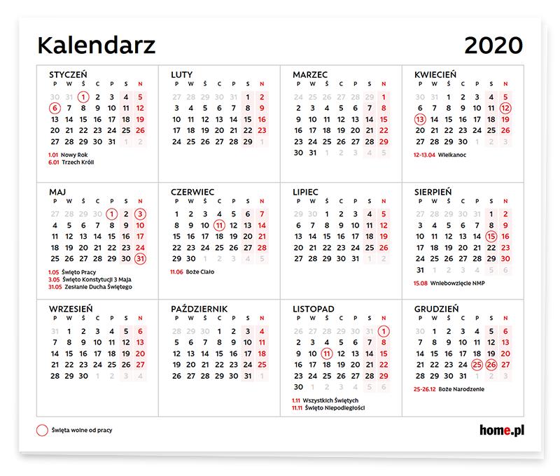 Kiedy wypadają dni ustawowo wolne od pracy (święta) w 2020 roku?