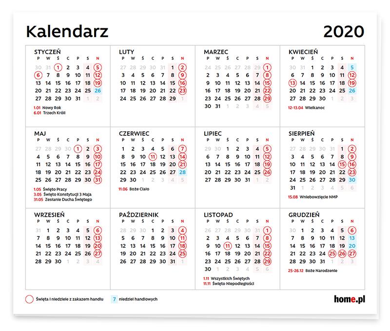 Kalendarz niedziel handlowych 2020