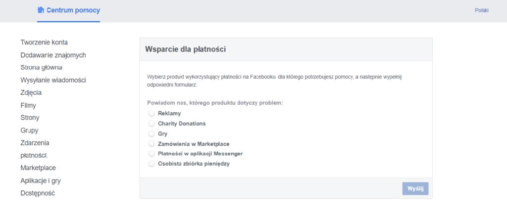 Centrum pomocy na Facebooku - wypełnianie formularza kontaktowego z konsultantem.