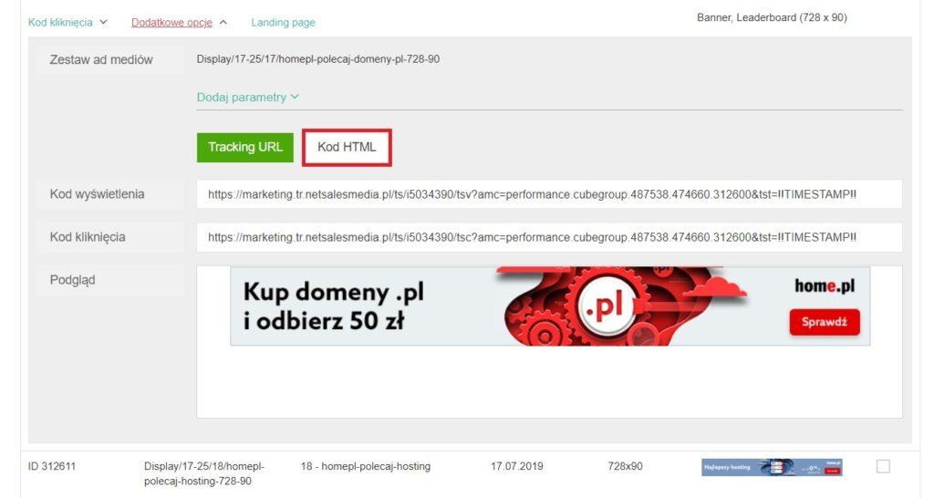 Pobieranie banera z Panelu Partnera - kod HTML