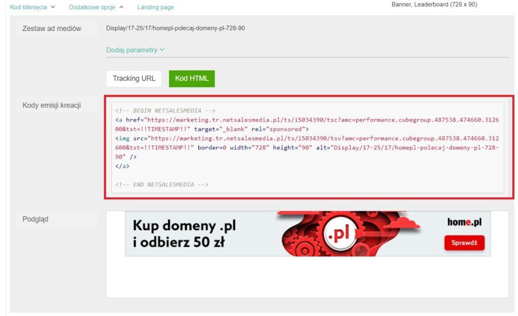 Pobieranie banera z Panelu Partnera - kopiowanie kodu HTML