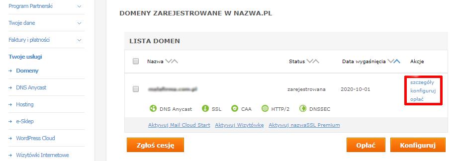 Przypisanie domeny z nazwa.pl do hostingu w home.pl (rekord A)