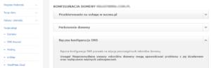 Panel administracyjny nazwa.pl - zmiana ustawień domeny