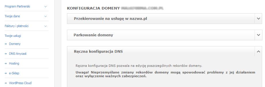 Konfiguracja domeny zarejestrowanej w nazwa.pl