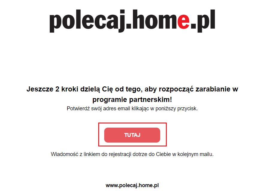 Rejestracja w programie partnerskim - mail potwierdzający