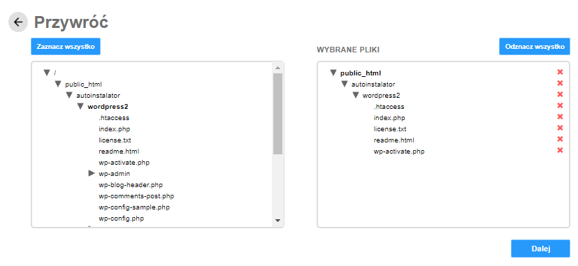 Backup WWW - wybierz pliki, które chcesz przywrócić z kopii zapasowej.