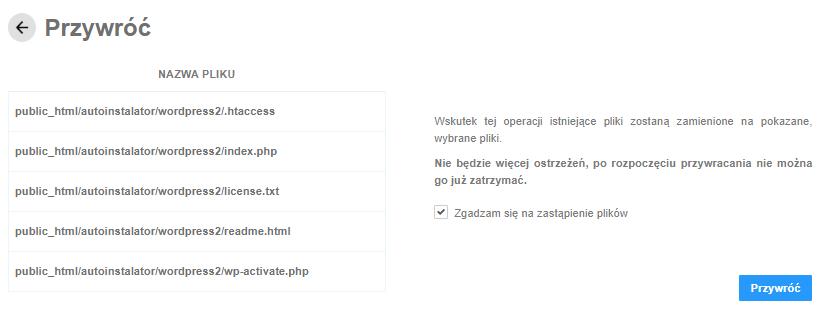 Backup WWW - przywracanie plików z kopii zapasowej, potwierdź chęć zastąpienia plików