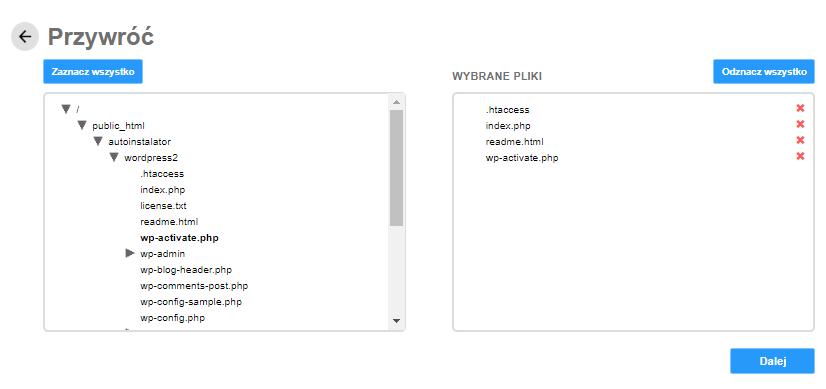 Backup WWW - pobierz tylko wybrane pliki z kopii zapasowej na swój komputer.