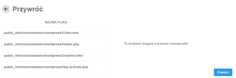 Backup WWW - lista plików, która zostanie pobrana z kopii zapasowej na Twój komputer