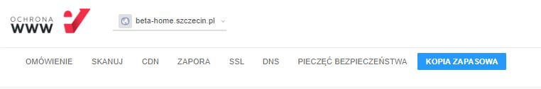 W menu nawigacji wybierz opcję: Kopia zapasowa, aby przejść do usługi Backup WWW.