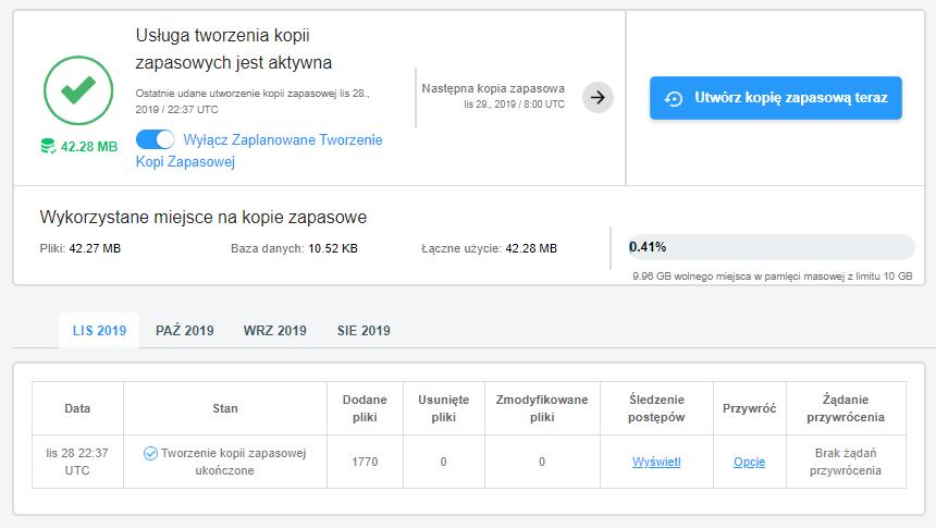 Widok raportu z wykonanej lub wykonywanej aktualnie kopii zapasowej w Backup WWW