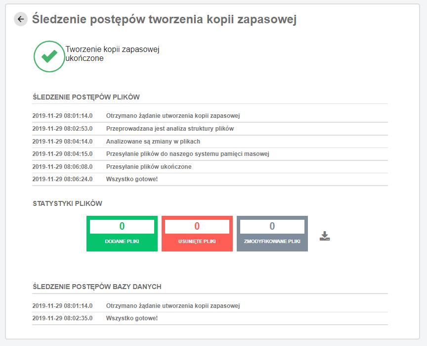 Śledzenie postępów tworzenia kopii zapasowej - szczegóły kopii strony WWW