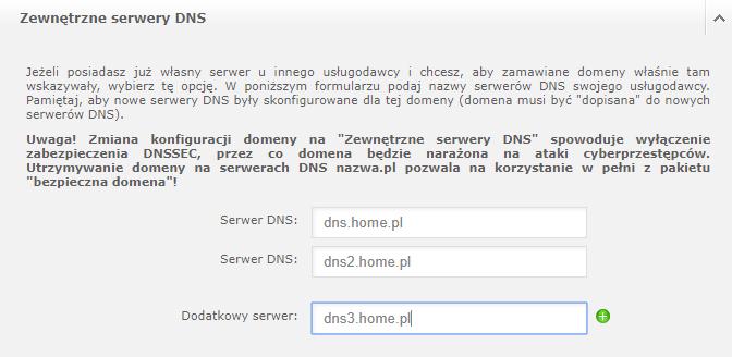 Ustawienia zewnętrznych serwerów DNS w nazwa.pl