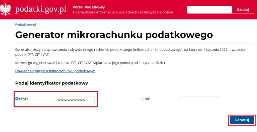 Indywidualny mikrorachunek podatkowy - generowanie mikrorachunku