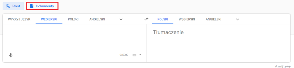 Google Translate - tłumaczenie dokumentów