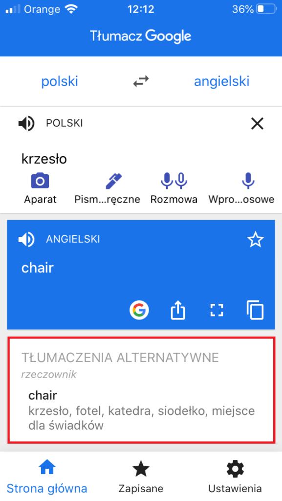 Tłumaczenie w aplikacji Google Tłumacz na smartfonie - okno z tłumaczeniem alternatywnym